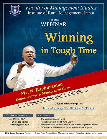 Orientation Programme 2020-22 : Webinar on Winning in Tough time - top ranked mba colleges in jaipur Rajasthan india