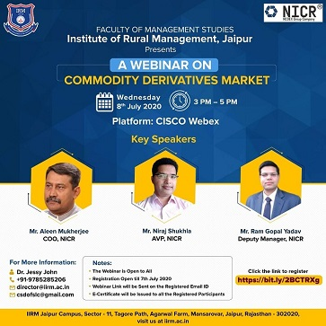 Webinar on commodity derivatives market - top ranked mba colleges in jaipur Rajasthan india