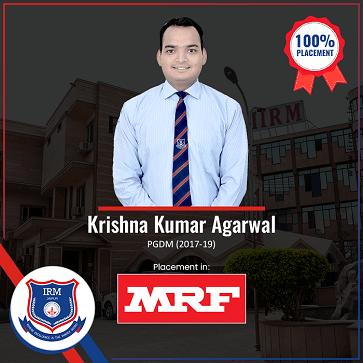 2017-19 Batch PGDM Student placed in MRF - top ranked mba colleges in jaipur Rajasthan india
