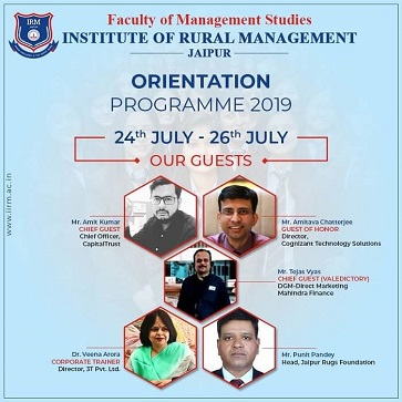"""NAVODBHAV"" Orientation Programme  -  24th - 26th July 2019 - top ranked mba colleges in jaipur Rajasthan india"