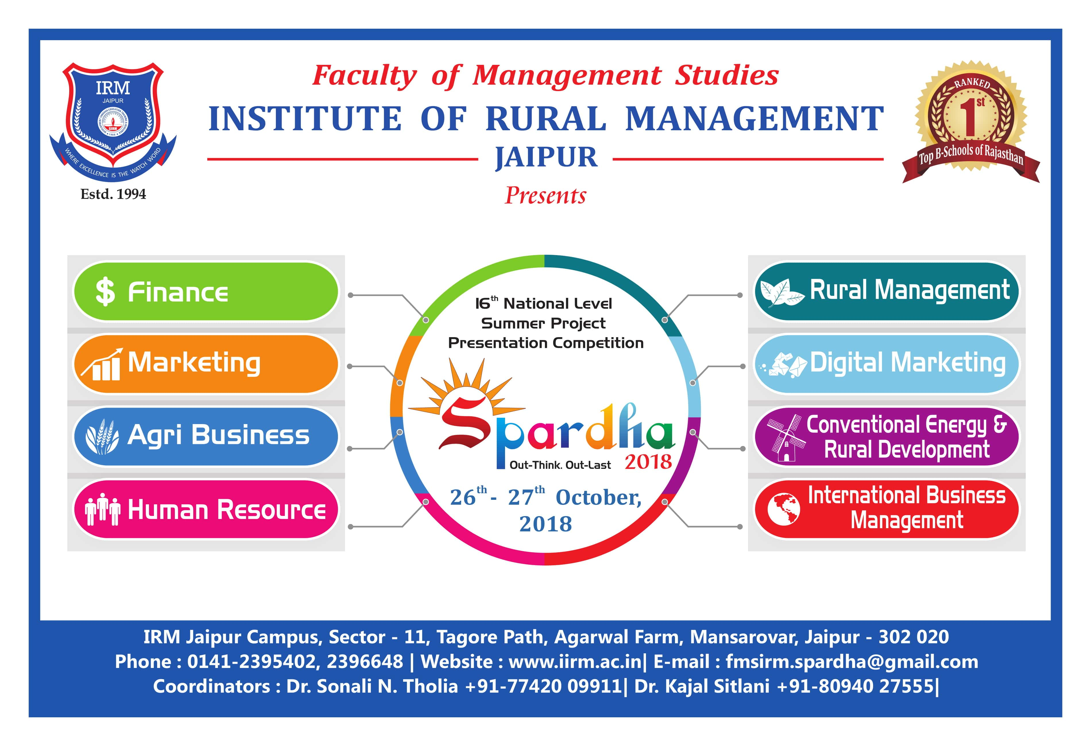 Spardha - 2018 (Out - Think Out - Last) - top ranked mba colleges in jaipur Rajasthan india