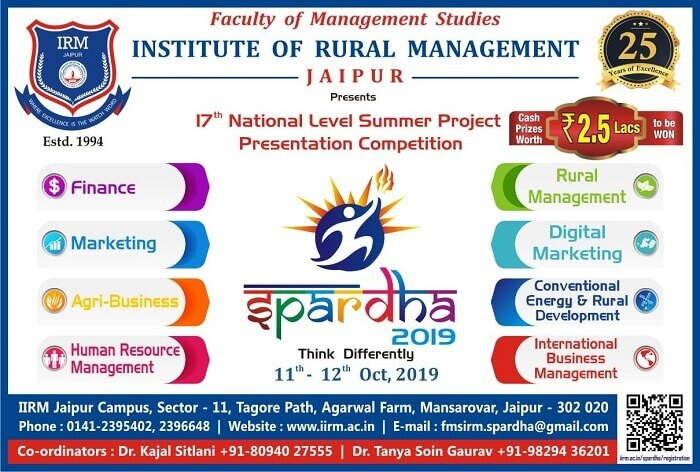Spardha 2019 - 17th Annual National Level Summer Project Presentation Competition - top ranked mba colleges in jaipur Rajasthan india