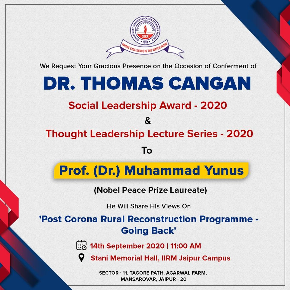 Thought Leadership Lecture & Dr. Thomas Cangan Social Leadership Award - 2020 - top ranked mba colleges in jaipur Rajasthan india