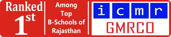 Ranked 1st, Top B-Schools of Rajasthan, ICMR - GMRCO